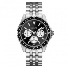 Relógio Masculino Guess Watches Pulseira de Aço Prata Fundo Preto
