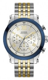 Relógio Masculino Guess Watches Pulseira de Aço Prata & Dourado Fundo Prata