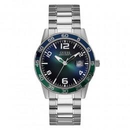 Relógio Masculino Guess Watches Pulseira de Aço Prata Fundo Verde