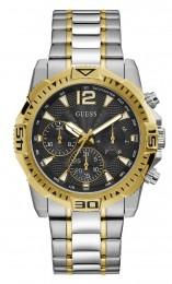Relógio Masculino Guess Watches Pulseira de Aço Prata & Dourado Fundo Preto