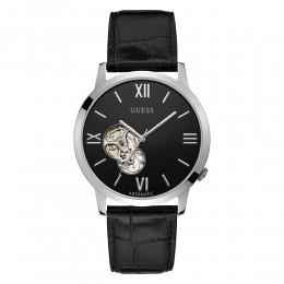 Relógio Masculino Guess Pulseira de Couro Preto Fundo Preto 92737G0GDNC1