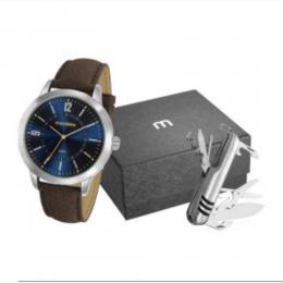 Kit Relógio Masculino Mondaine Pulseira de Couro Sintético Marrom Fundo AZUL e Canivete Multifunção 53809G0MGNH7K1