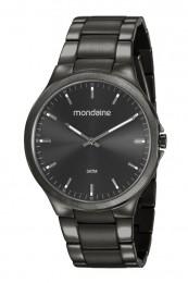 Relógio Masculino Mondaine Pulseira de Aço Inoxidável Chumbo Fundo Preto 53714GPMVSA2