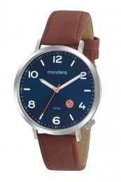 Relógio Masculino Mondaine Pulseira de Couro Sintético Marrom Fundo Azul 99475G0MVNH2