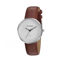 Relógio Masculino Mondaine Pulseira de Couro Sintético Marrom Fundo Branco 32137G0MVNH2