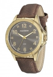 Relógio Masculino Mondaine Pulseira de Couro Sintético Marrom Fundo Cinza 76676GPMVDH3