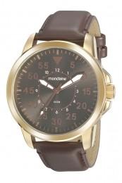 Relógio Masculino Mondaine Pulseira de Couro Sintético Marrom Fundo Marrom 99497GPMVDH1