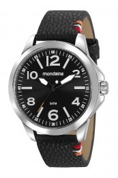 Relógio Masculino Mondaine Pulseira de Couro Sintético Preto Fundo Preto 99411G0MVNH1