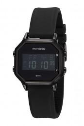 Relógio Masculino Mondaine Pulseira de Silicone Preto Fundo Lcd Negativo 53963GPMVPI2