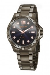 Relógio Masculino Seculus Pulseira de Aço Chumbo Fundo Cinza 20800GPSVSA3