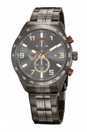 Relógio Masculino Seculus Pulseira de Aço Chumbo Fundo Cinza