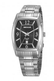Relógio Masculino Seculus Pulseira de Aço Prata Fundo Preto