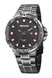 Relógio Masculino Seculus Pulseira de Aço Preta Fundo Preto 20757GPSVSA2