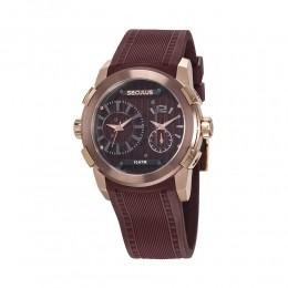 Relógio Masculino Seculus Pulseira de Silicone Marrom Fundo Marrom 35005GPSVXU2
