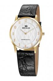 Relógio Masculino Seculus Swiss Made Pulseira de  Couro Coleção Flatline 1018G11062LBWA