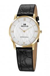 Relógio Masculino Seculus Swiss Made 1018G11062LYWR Pulseira de couro e vidro de Safira com 02 anos de Garantia