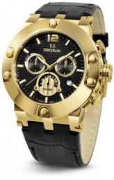 Relógio Masculino Seculus Swiss Made 44902503DLBYB Pulseira de couro e vidro de Safira com 02 anos de Garantia