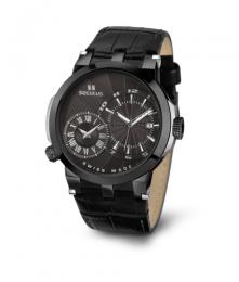 Relógio Masculino Seculus Swiss Made 4511775LBIPBB Pulseira de couro e vidro de Safira com 02 anos de Garantia