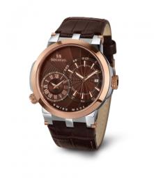 Relógio Masculino Seculus Swiss Made 4511775LBR2TBR Pulseira de couro e vidro de Safira com 02 anos de Garantia