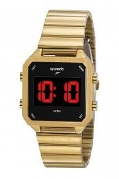 Relógio Masculino Speedo Pulseira de Aço Inoxidável Dourada Fundo LCD Negativo 24874MPEVDE1