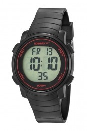 Relógio Masculino Speedo Pulseira de Poliuretano Preta Fundo LCD Positivo 80649G0EVNP1