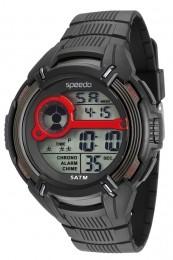 Relógio Masculino Speedo Pulseira de Poliuretano Preta Fundo LCD Positivo