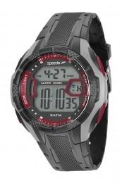 Relógio Masculino Speedo Pulseira de Poliuretano Preta Fundo LCD Positivo 81141G0EVNP5