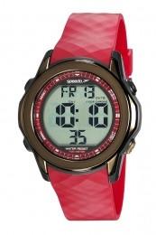 Relógio Masculino Speedo Pulseira de Poliuretano Vermelha Fundo LCD Positivo