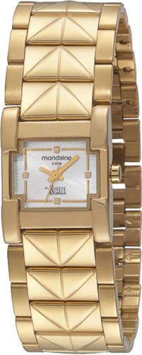 Relógio Feminino Mondaine Pulseira de Aço Inoxidável Dourado Fundo Prata 69211LPMFDE1