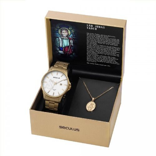 Kit Relógio Masculino Seculus São Judas Tadeu 35014gpskda1k1 Dourado
