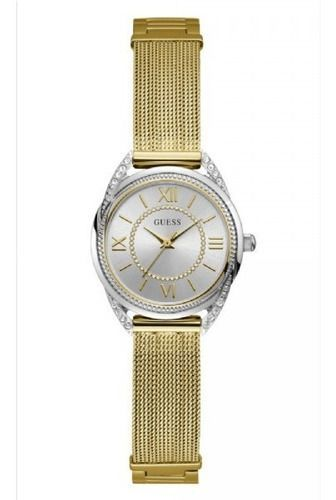 Relógio Feminino Guess Pulseira de Aço Dourado Fundo Prata 92685LPGDBA1