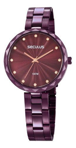 Relógio Feminino Seculus Pulseira de Aço Roxa Fundo Marrom 77039LPSKFS2