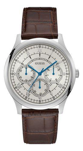 Relógio Masculino Guess Watches Pulseira de Couro Marrom Fundo Branco