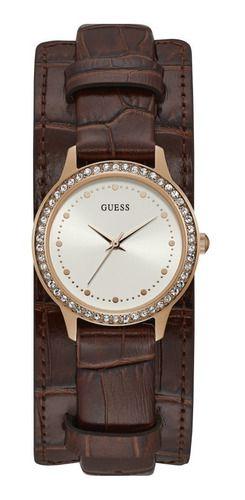 Relógio Feminino Guess Pulseira de Couro Marrom Fundo Branco 92705LPGTRC4