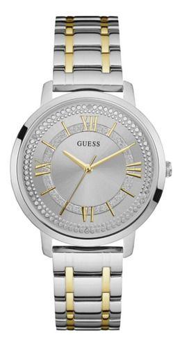 Relógio Feminino Guess Watches Pulseira de Aço Prata & Dourado Fundo Prata