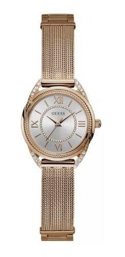 Relógio Feminino Guess Pulseira de Aço Rose Gold Fundo Prata 92685LPGDRA2