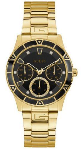 Relógio Feminino Guess Pulseira de Aço Dourado Fundo Preto 92719LPGSDA5