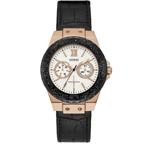 Relógio Feminino Guess Pulseira de Couro Preto Fundo Branco 92601LPGSRC8