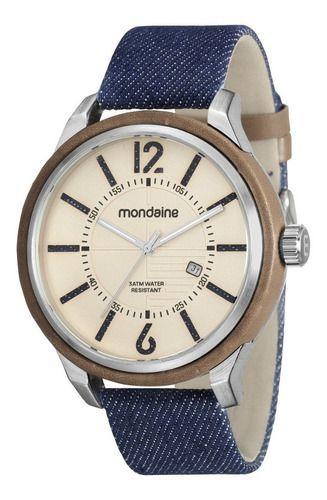 Relógio Masculino Mondaine Pulseira de Couro Sintético Preto Fundo Prata 89010G0MVND1