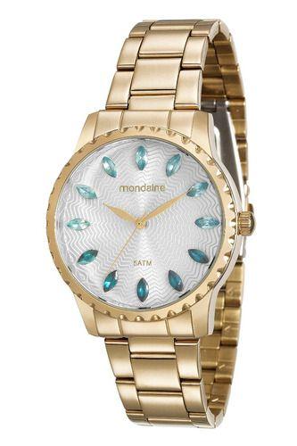 Relógio Feminino Mondaine Pulseira de Aço Inoxidável Dourado Fundo Prata 99170LPMVDE2