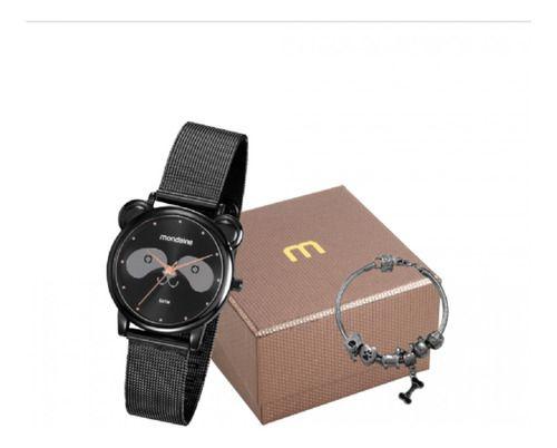 Kit Relógio Feminino Mondaine Pulseira de Aço Inoxidável Preto Fundo Preto e Pulseira Berloque 53784LPMVPE2K1