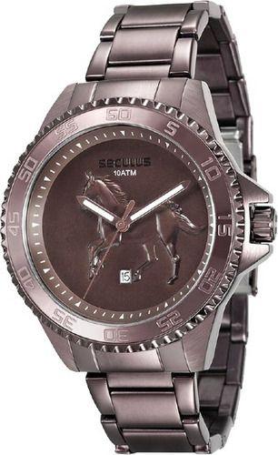 Relógio Masculino Seculus Pulseira de Aço Marrom Fundo Marrom 20441GPSVMA1