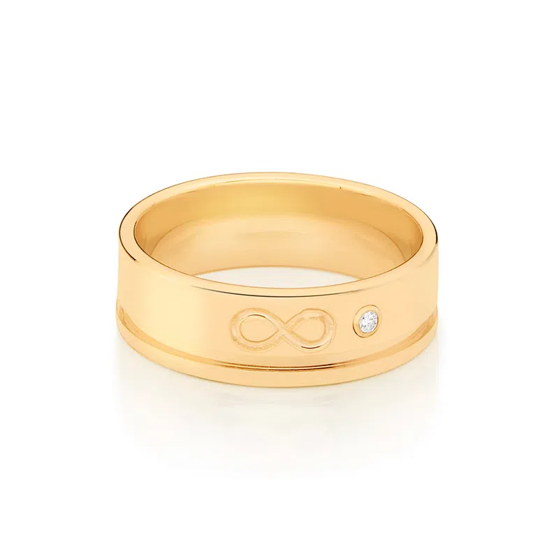 Aliança infinito Rommanel folheada a ouro com zircônia 512866