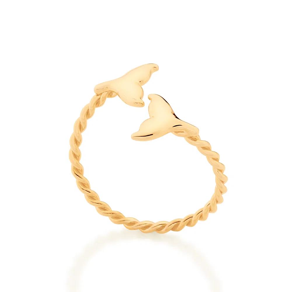 Anel Rommanel  ajustável cauda de sereia folheado a ouro 512877