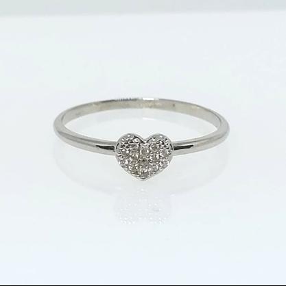 Anel Coração com Zircônia Diamante GC Folheado a Rhodium 0452078020000