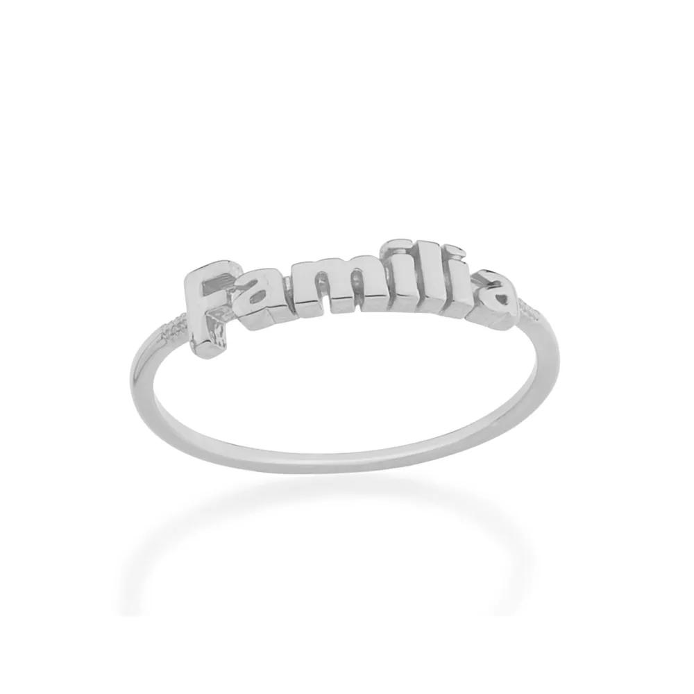"Anel feminino rommanel 110708 escrita "" família"""