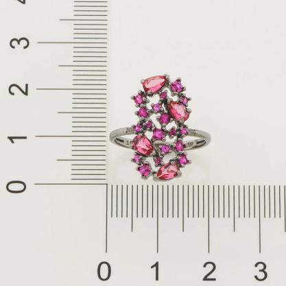 Anel feminino rommanel 410037 rhodium negro cristal e zircônia ana hickmann