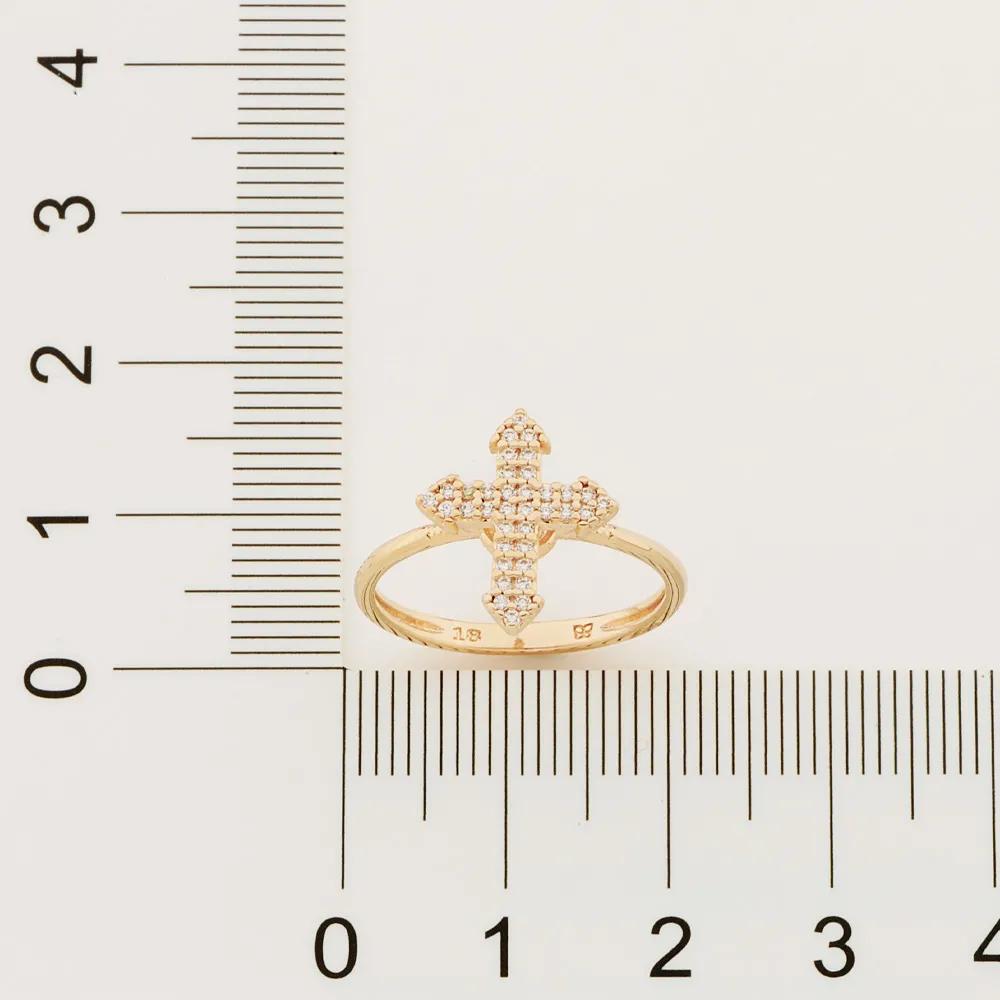 Anel Rommanel 512900 cruz folheado a ouro com zircônias