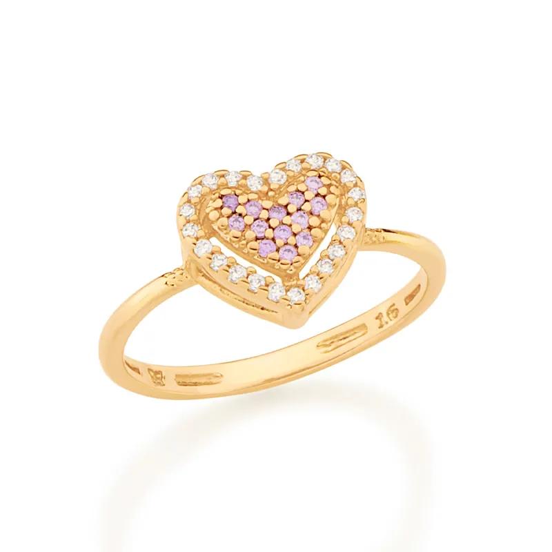 Anel feminino rommanel 512901 coração com zircônias