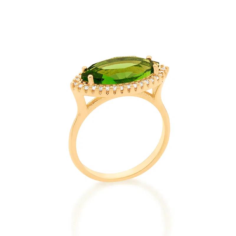 Anel Rommanel Folheado a ouro com cristal navete e zircônias 512888